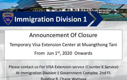 Closure Temporary Visa Extension Center at Muangthong Tanias